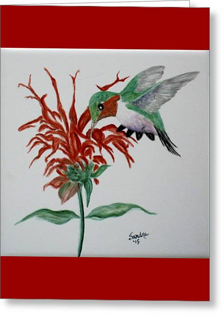 Red Leaves Ceramics Greeting Cards - Lunch Time Greeting Card by Sandra Maddox