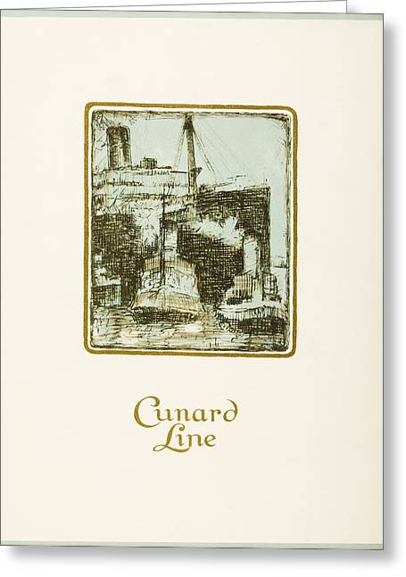 Aged Print Greeting Cards - Luncheon Menu. Cunard Line. R.m.s Greeting Card by Vintage Design Pics