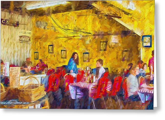 Town Mixed Media Greeting Cards - Lunchtime - Country Cafe Greeting Card by Barry Jones