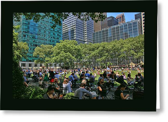 Bryant Park Greeting Cards - Lunchtime in Bryant Park Greeting Card by Allen Beatty