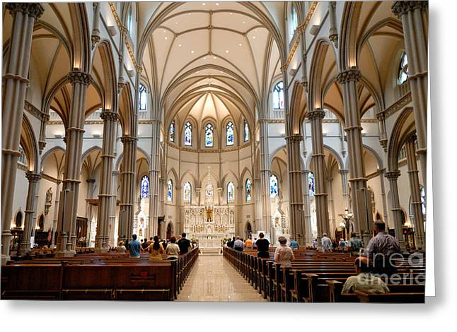 Cathedral Greeting Cards - Lunchtime Mass at Saint Paul Cathedral Pittsburgh PA Greeting Card by Amy Cicconi