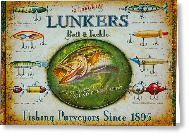 Texting Greeting Cards - Lunkers Bait and Tackle Greeting Card by Paul O