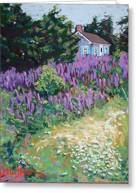 Maine Landscape Pastels Greeting Cards - Lupine Cottage in Maine Greeting Card by Hillary Gross