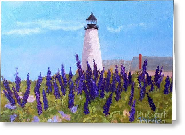 Coastal Maine Greeting Cards - Lupins and Light Greeting Card by Alicia Drakiotes