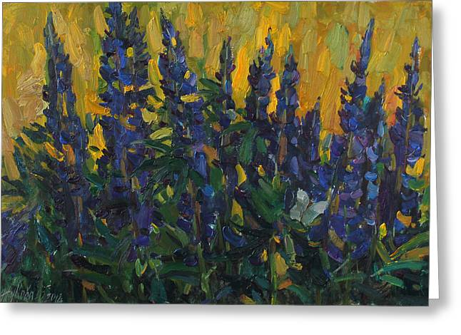 Modern Russian Art Greeting Cards - Lupins Greeting Card by Juliya Zhukova