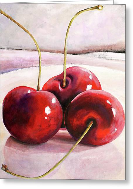 Cherry Greeting Cards - Luscious Cherries Greeting Card by Toni Grote