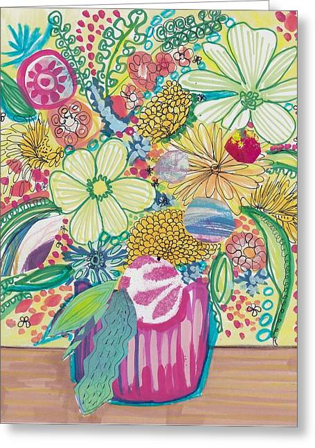 Lush Mixed Media Greeting Cards - Lush Floral Bouquet Greeting Card by Rosalina Bojadschijew