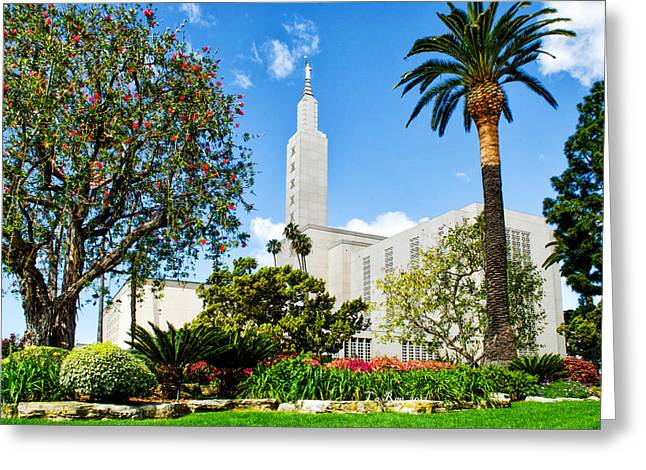 Mormon Temple Photography Greeting Cards - Lush LA Temple Greeting Card by La Rae  Roberts