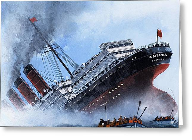World War One Paintings Greeting Cards - Lusitania Greeting Card by Mike Tregenza