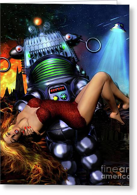 Blonde Hair Greeting Cards - Lust in Space Greeting Card by Shanina Conway