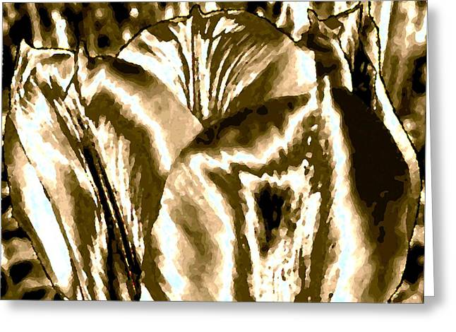 Abstract Tulips Greeting Cards - Lustrous Golden Tulip Greeting Card by Will Borden