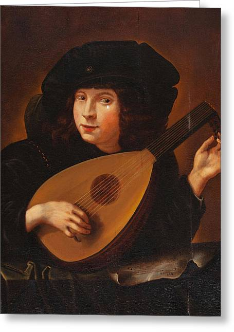 Lute Paintings Greeting Cards - Lute Player Greeting Card by Celestial Images