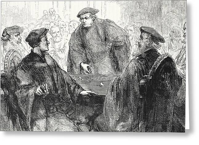 Luther And Zwingle Discussing At Marburg Greeting Card by English School
