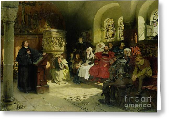 Christianity Paintings Greeting Cards - Luther Preaches using his Bible Translation while Imprisoned at Wartburg Greeting Card by Hugo Vogel