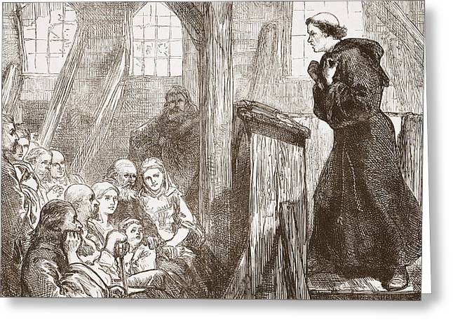 Orator Greeting Cards - Luther preaching in the old wooden church at Wittemberg Greeting Card by English School