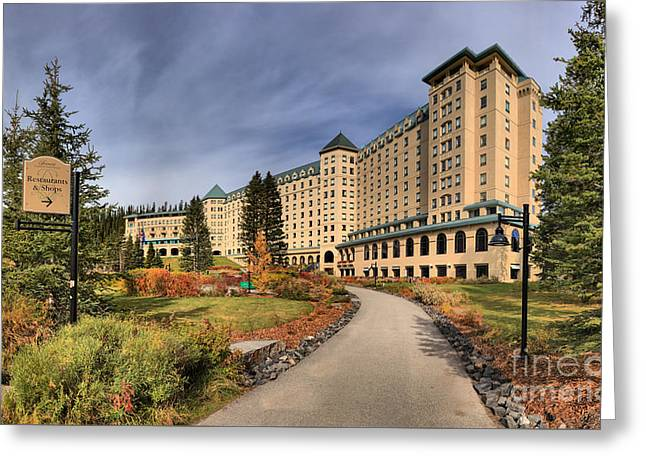 Chateau Greeting Cards - Luxurious Chateau Lake Louise Greeting Card by Adam Jewell
