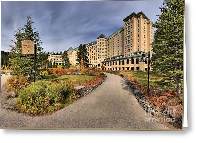 Chateau Greeting Cards - Luxury Chateau Lake Louise Greeting Card by Adam Jewell