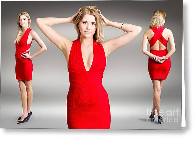 Low-cut Dress Greeting Cards - Luxury female fashion model in classy red dress Greeting Card by Ryan Jorgensen