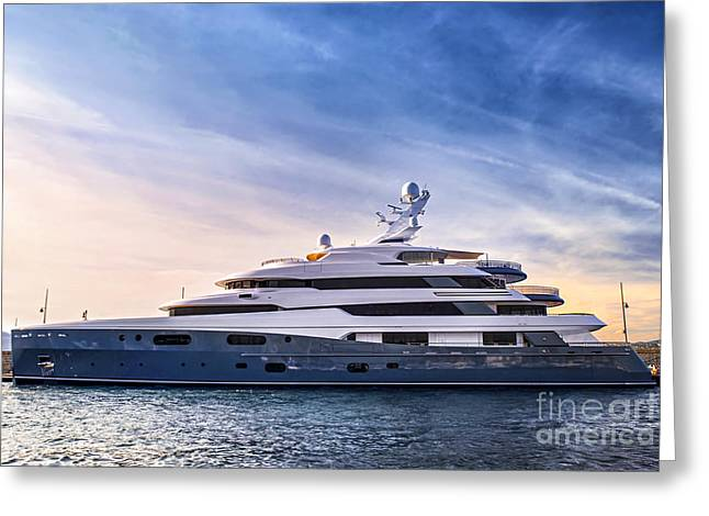 Boats. Water Greeting Cards - Luxury yacht Greeting Card by Elena Elisseeva