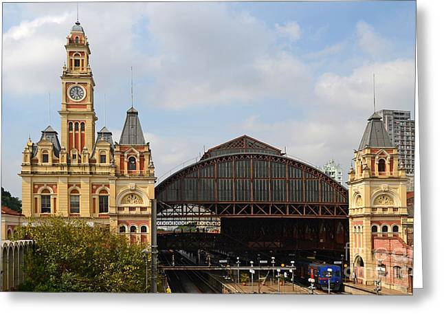 Historic Architecture Greeting Cards - Luz Station in Sao Paulo - Brasil. Greeting Card by Ralf Broskvar