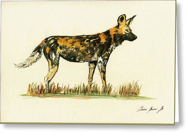 Dog Posters Greeting Cards - Lycaon wild african dog Greeting Card by Juan  Bosco