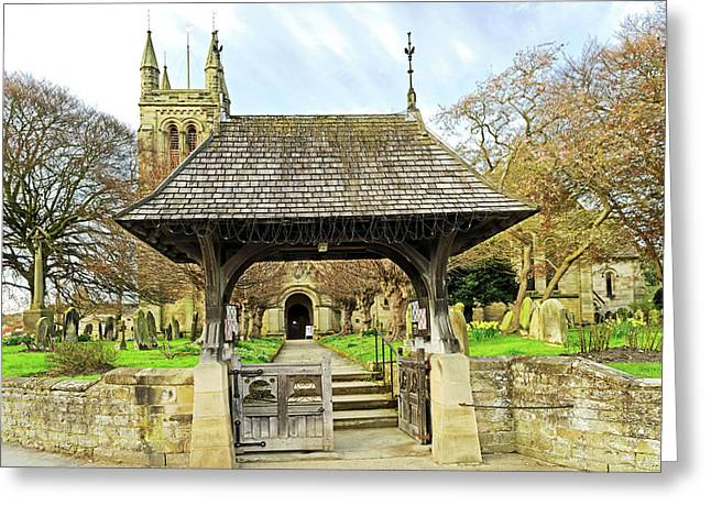 Lych Gate To All Saints Church - Helmsley Greeting Card by Rod Johnson