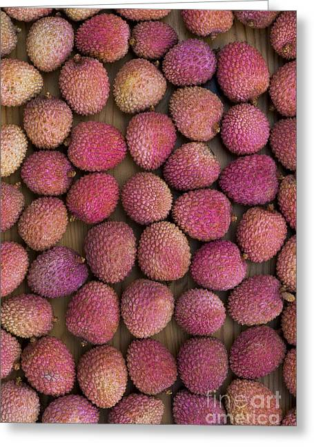 Rind Greeting Cards - Lychee Fruit Greeting Card by Tim Gainey