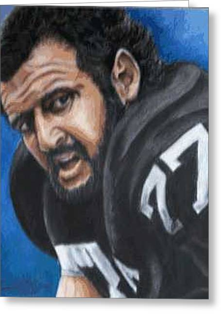 Oakland Paintings Greeting Cards - Lyle Alzado Greeting Card by Kenneth Kelsoe