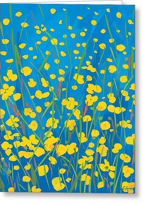 Green And Yellow Paintings Greeting Cards - Lympstone Buttercups Greeting Card by Sarah Gillard