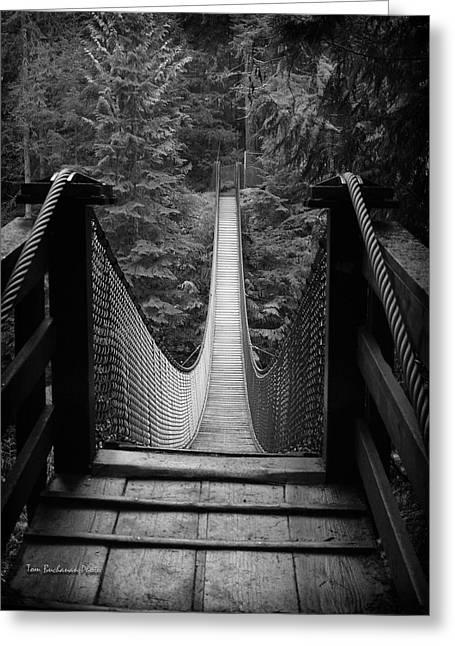 North Vancouver Greeting Cards - Lynn Canyon Bridge Greeting Card by Tom Buchanan