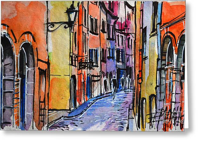 French Doors Greeting Cards - LYON CITYSCAPE - STREET SCENE #01 - Rue Saint Georges Greeting Card by Mona Edulesco