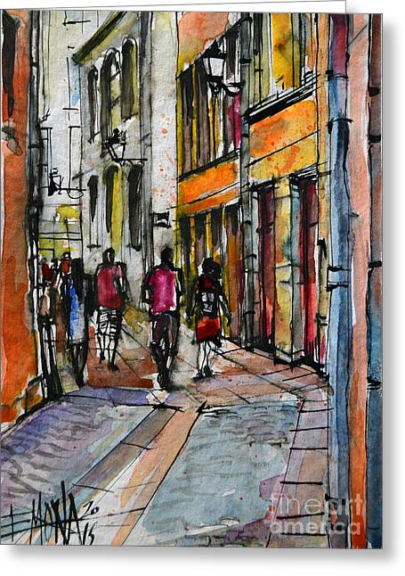 French Doors Greeting Cards - LYON CITYSCAPE - STREET SCENE #02 - Rue de Gadagne Greeting Card by Mona Edulesco