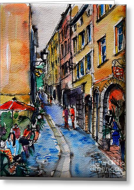 French Doors Greeting Cards - LYON CITYSCAPE - STREET SCENE #04 - Rue du Boeuf Greeting Card by Mona Edulesco