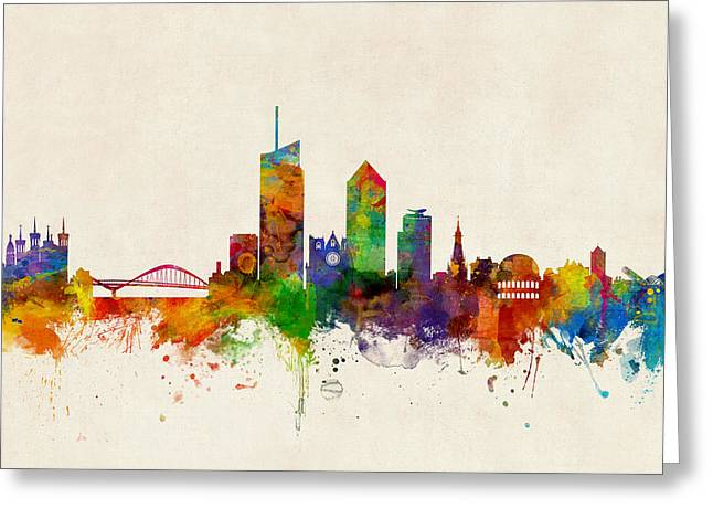 Lyon France Skyline Greeting Card by Michael Tompsett