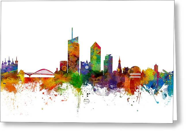 Lyon Skyline Cityscape France Greeting Card by Michael Tompsett