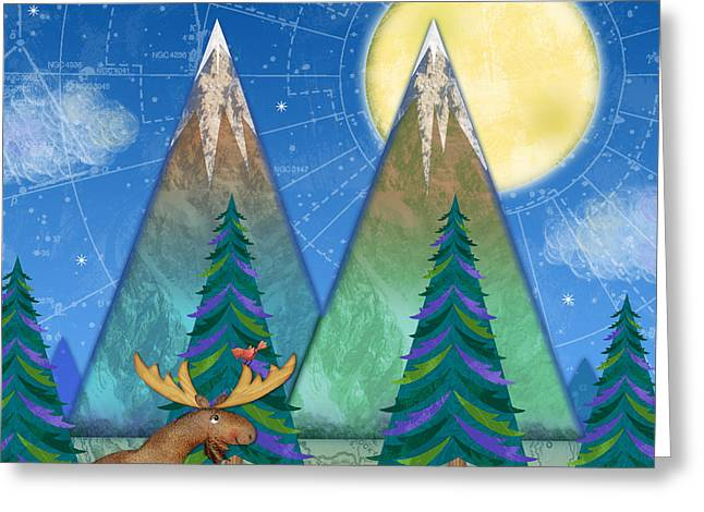 M Is For Mountains And Moon Greeting Card by Valerie Drake Lesiak