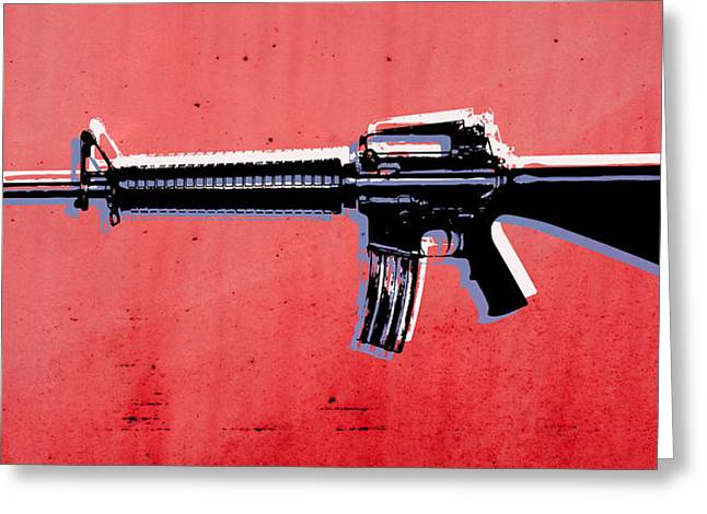M16 Assault Rifle On Red Greeting Card by Michael Tompsett