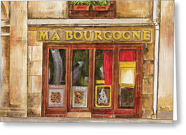 Brasserie Greeting Cards - Ma Bourgogne Greeting Card by Debbie DeWitt
