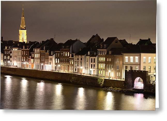 Limburg Greeting Cards - Maas River at Night Greeting Card by Carol Vanselow