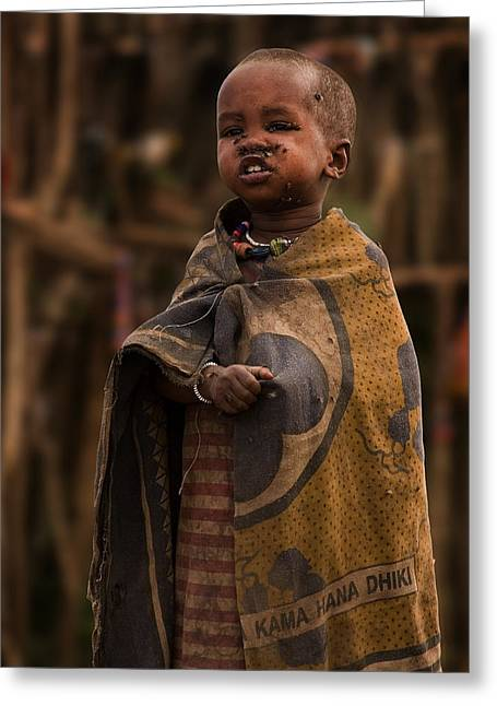 Craters Greeting Cards - Maasai Boy Greeting Card by Adam Romanowicz