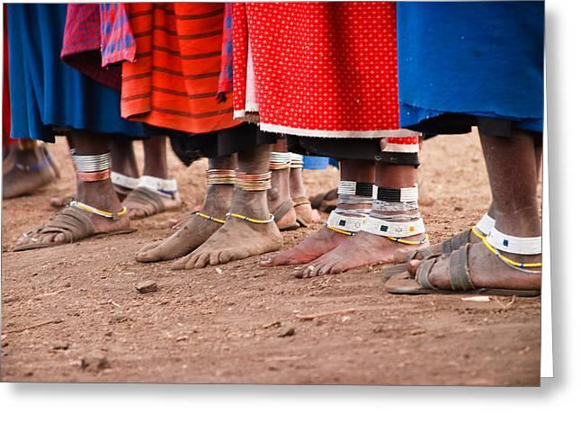 Mara Greeting Cards - Maasai Feet Greeting Card by Adam Romanowicz
