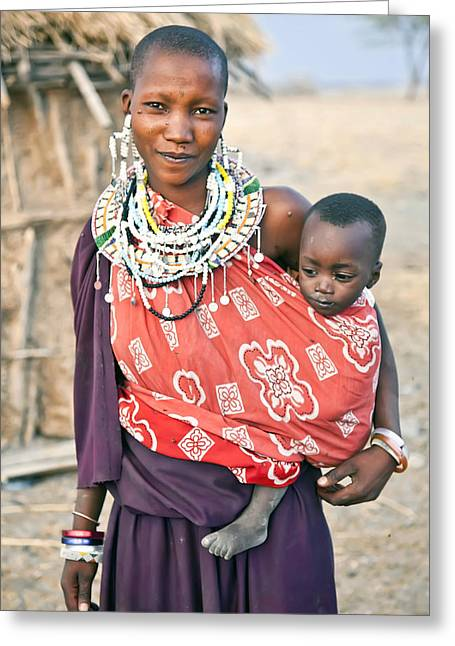 Empowerment Greeting Cards - Maasai Woman and two kids Greeting Card by Bert Hoferichter