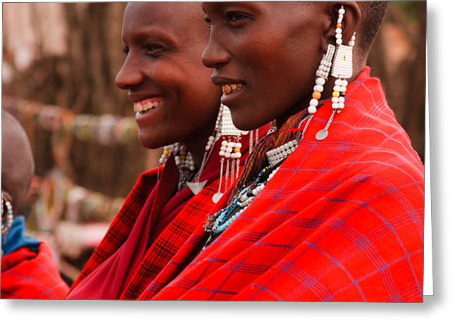 Maasai Women Greeting Card by Adam Romanowicz