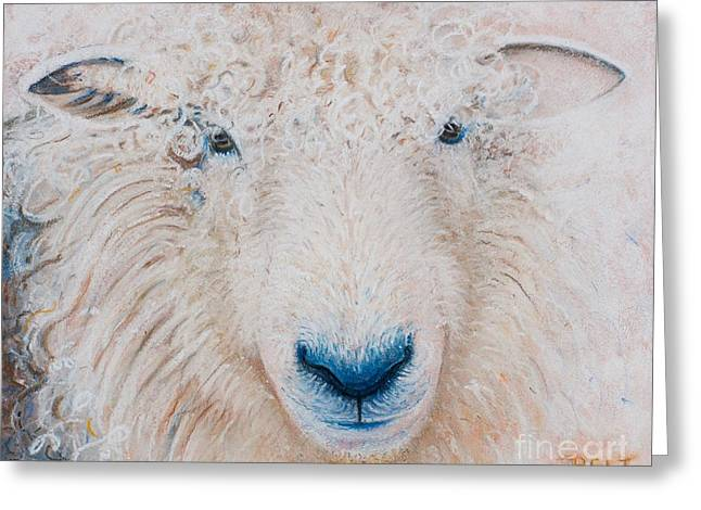 Farm Animals Pastels Greeting Cards - Molly Greeting Card by Christine Belt