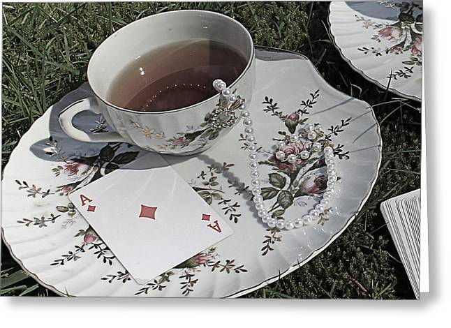 Mad Hatter Greeting Cards - Macabre Mad Tea Party Ace Greeting Card by Lara Whitmore