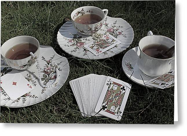 Mad Hatter Greeting Cards - Macabre Mad Tea Party Trio Greeting Card by Lara Whitmore