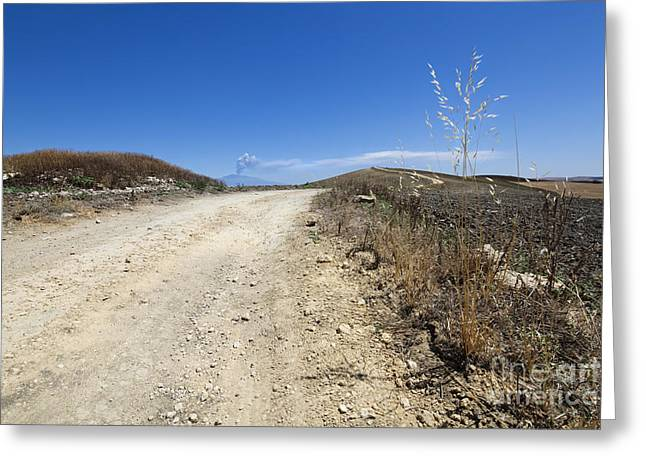 Macadam Road And Smoking Etna Greeting Card by Wolfgang Steiner