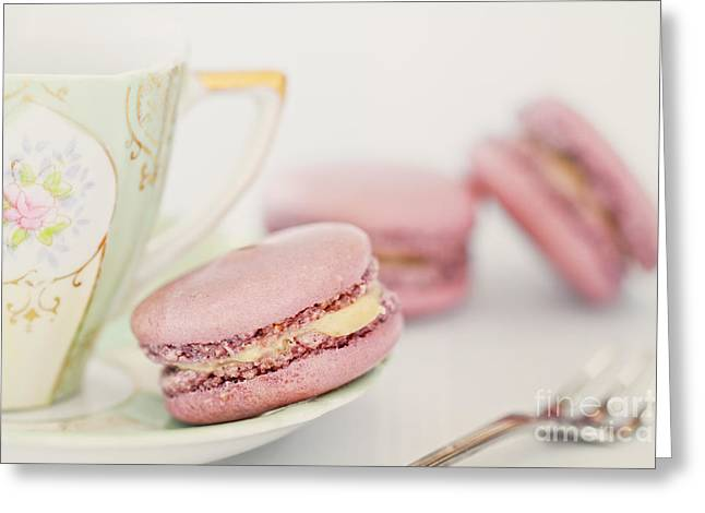 Brulee Greeting Cards - Macarons and Tea Greeting Card by Stephanie Frey