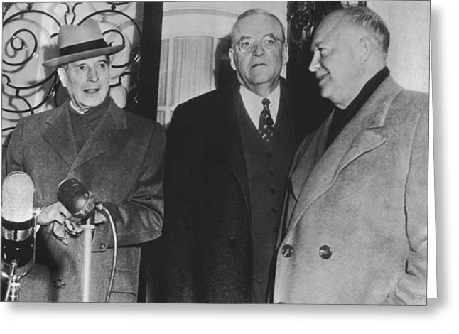 Macarthur, Dulles, Eisenhower Greeting Card by Underwood Archives
