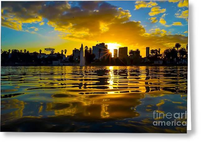 Macarthur Greeting Cards - MacArthur Park Sunrise Greeting Card by Art K